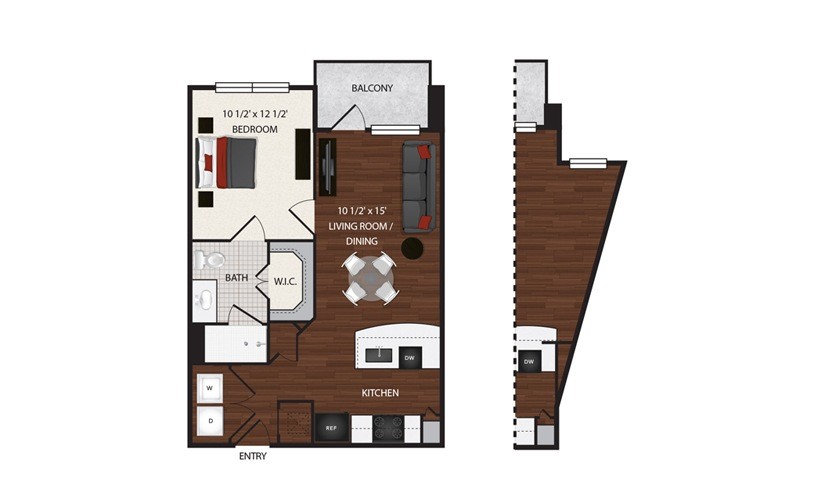 Available One Two Bedroom Apartments In Houston Texas Elan - Floor-plan-2-bedroom-apartment